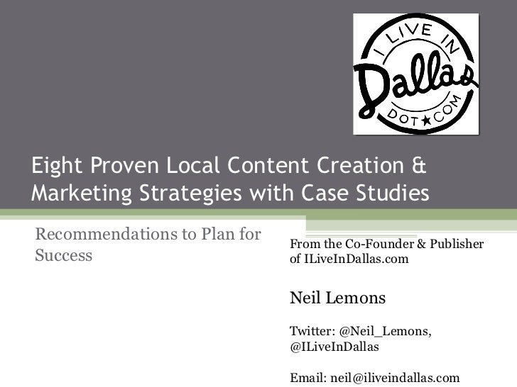 Eight Proven Local Content Creation &Marketing Strategies with Case StudiesRecommendations to Plan for   From the Co-Found...