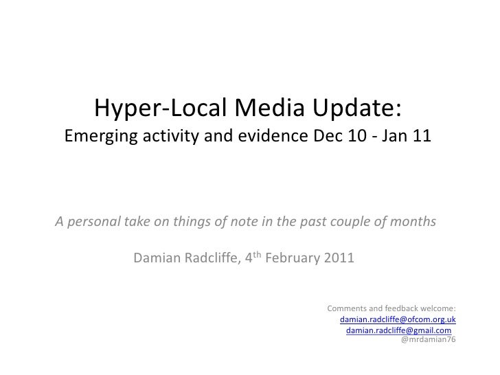 Hyper local update: 20 key developments, December 2010 - January 2011
