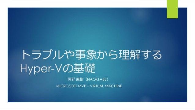 トラブルや事象から理解する Hyper-Vの基礎 阿部 直樹(NAOKI ABE) MICROSOFT MVP – VIRTUAL MACHINE
