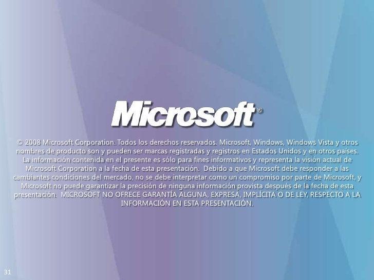© 2008 Microsoft Corporation. Todos los derechosreservados. Microsoft, Windows, Windows Vista y otrosnombres de producto s...