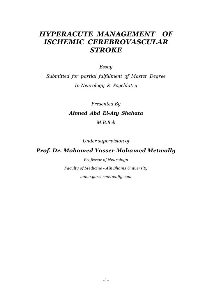 Thesis section...Management of hyperacute stroke
