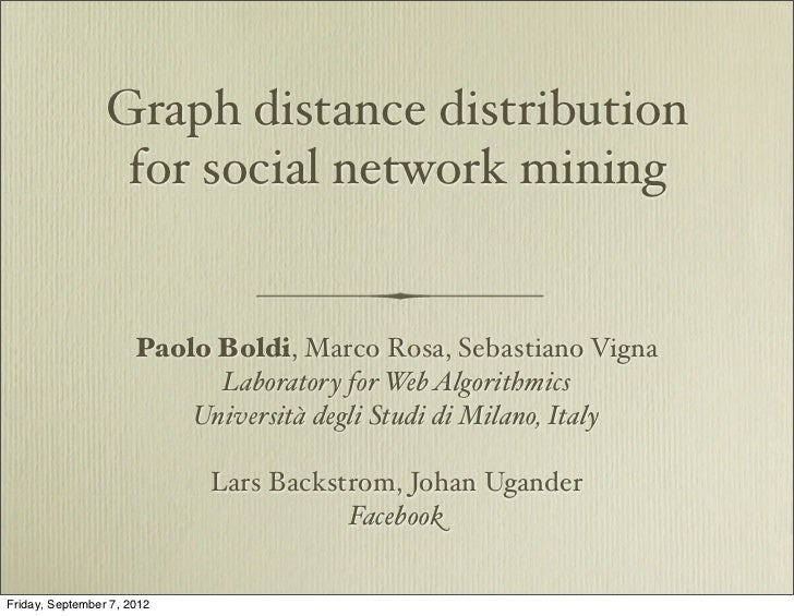 Graph distance distribution                  for social network mining                      Paolo Boldi, Marco Rosa, Sebas...