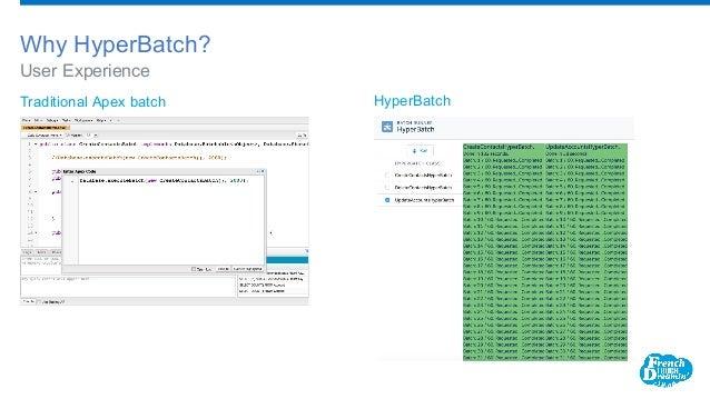 User Experience Why HyperBatch? Traditional Apex batch HyperBatch