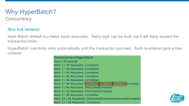 Concurrency Why HyperBatch? Row lock behavior Apex Batch: default is a failed batch execution. Retry logic can be built,...