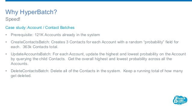 Case study: Account / Contact Batches • Prerequisite: 121K Accounts already in the system • CreateContactsBatch: Creates ...