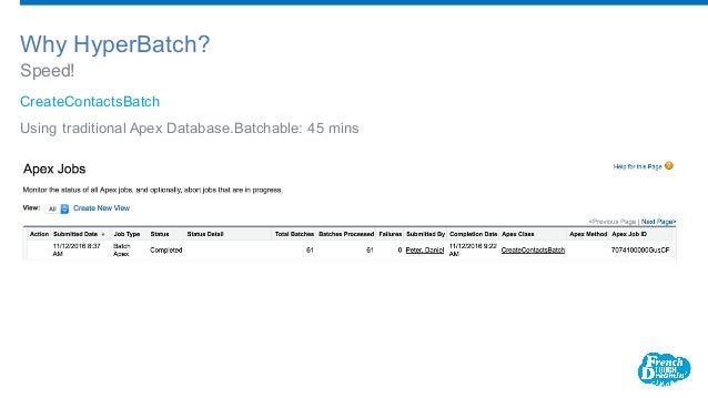 CreateContactsBatch Using traditional Apex Database.Batchable: 45 mins Speed! Why HyperBatch?