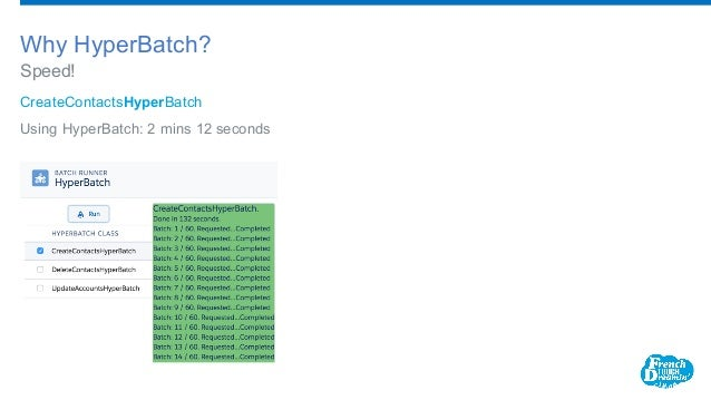 CreateContactsHyperBatch Using HyperBatch: 2 mins 12 seconds Speed! Why HyperBatch?