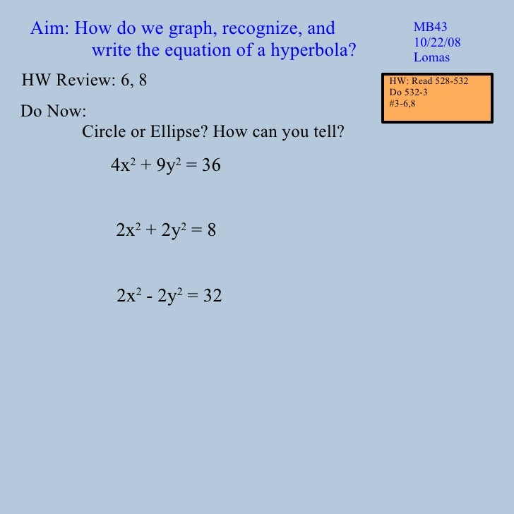 Aim: How do we graph, recognize, and write the equation of a hyperbola? MB43 10/22/08 Lomas Do Now: Circle or Ellipse? How...