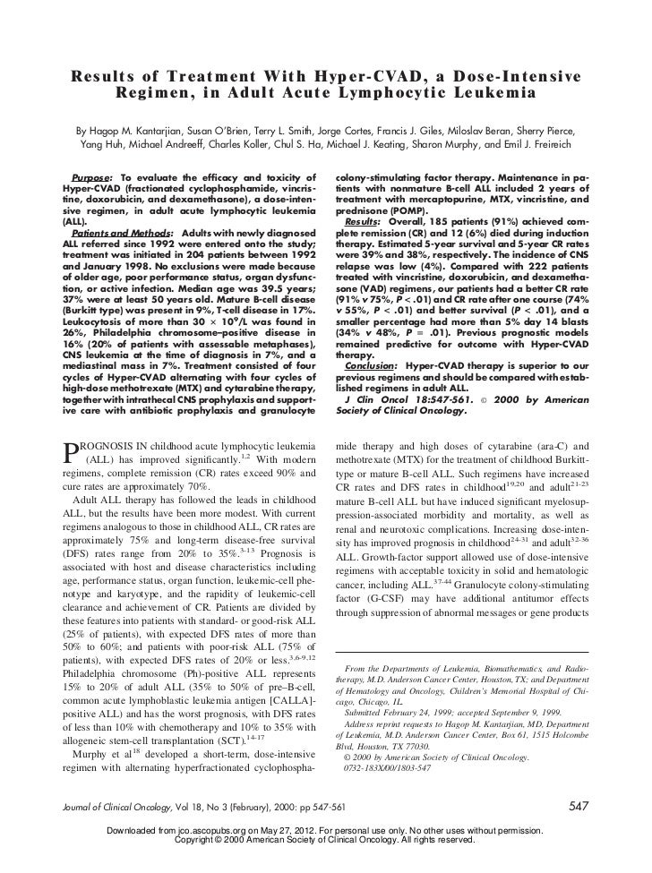 Results of Treatment With Hyper-CVAD, a Dose-Intensive      Regimen, in Adult Acute Lymphocytic Leukemia   By Hagop M. Kan...