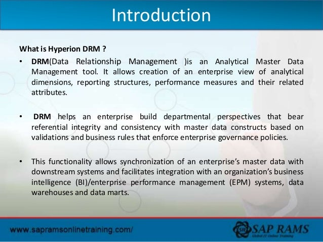 Hyperion DRM Online Training | Oracle Hyperion DRM Online