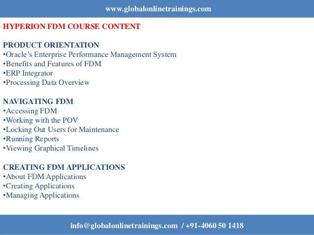 Hyperion FDM training | Oracle Hyperion FDM FDQM Online Course