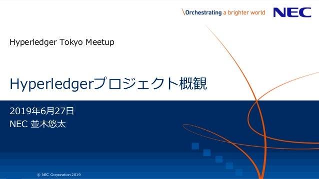 1 © NEC Corporation 2019 Hyperledgerプロジェクト概観 Hyperledger Tokyo Meetup 2019年6月27日 NEC 並木悠太