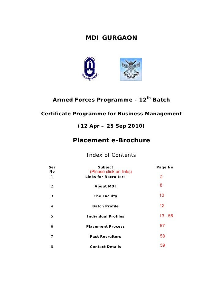 MDI GURGAON        Armed Forces Programme - 12th Batch  Certificate Programme for Business Management             (12 Apr ...