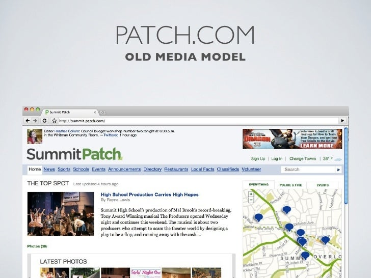 PATCH.COM                      OLD MEDIA MODEL • Semi-autonomous      site editors with traditional media support  staff (...