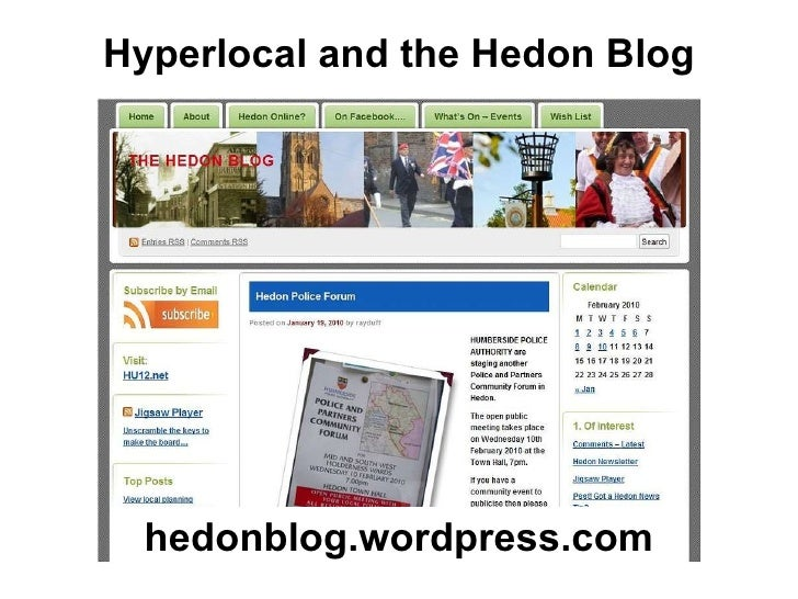 Hyperlocal and the Hedon Blog hedonblog.wordpress.com