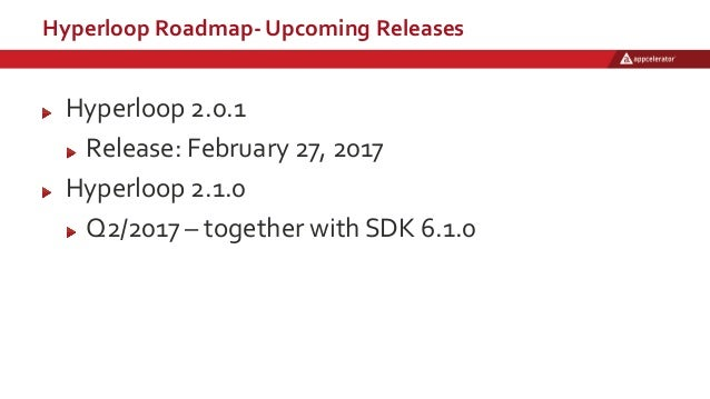 Hyperloop Roadmap- Upcoming Releases Hyperloop 2.0.1 Release: February 27, 2017 Hyperloop 2.1.0 Q2/2017 – together with SD...