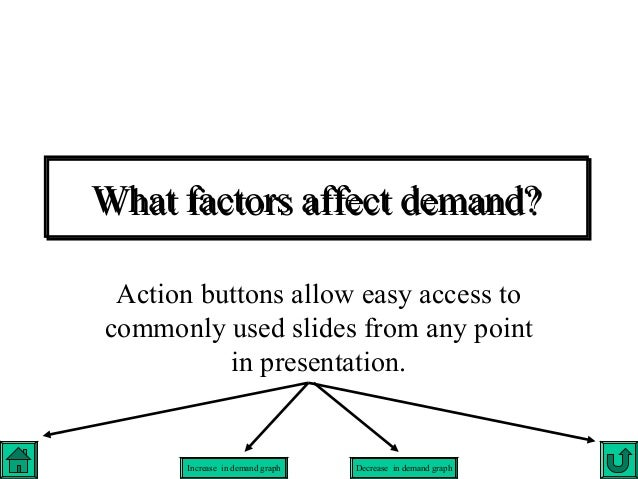 What factors affect demand? Action buttons allow easy access tocommonly used slides from any point          in presentatio...