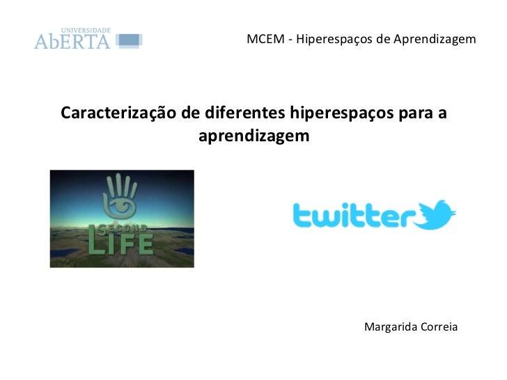 MCEM - Hiperespaços de Aprendizagem Caracterização de diferentes hiperespaços para a aprendizagem Margarida Correia