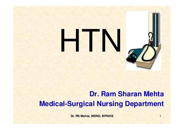 HTN              Dr. Ram Sharan MehtaMedical-Surgical Nursing Department        Dr. RS Mehta, MSND, BPKIHS   1