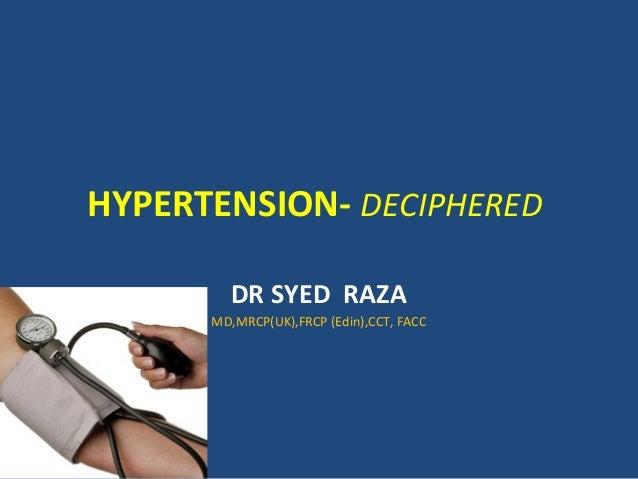 HYPERTENSION- DECIPHERED DR SYED RAZA MD,MRCP(UK),FRCP (Edin),CCT, FACC