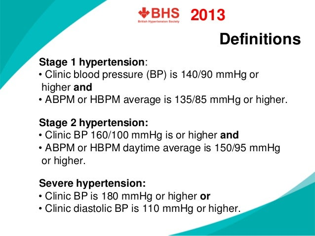 Definitions  Stage 1 hypertension:  •Clinic blood pressure (BP) is 140/90mmHg orhigher and  •ABPM or HBPM average is 135/8...