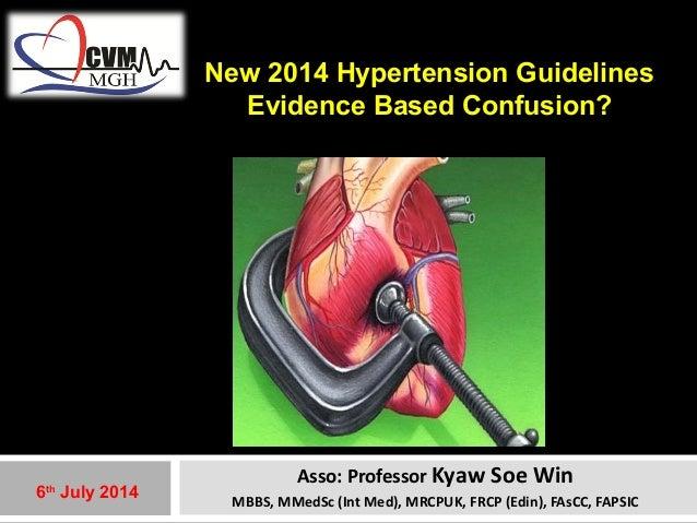 New 2014 Hypertension Guidelines  Evidence Based Confusion?  Asso: Professor Kyaw Soe Win  MBBS, MMedSc (Int Med), MRCPUK,...