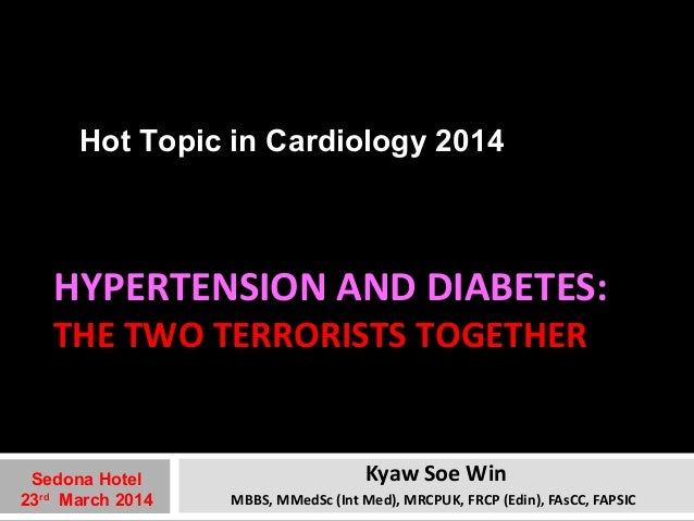 Hot Topic in Cardiology 2014  HYPERTENSION AND DIABETES:  THE TWO TERRORISTS TOGETHER  Kyaw Soe Win  MBBS, MMedSc (Int Med...