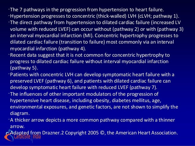 •  The 7 pathways in the progression from hypertension to heart failure.•  Hypertension progresses to concentric (thick-wa...