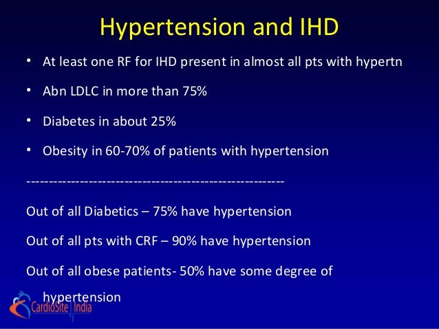 Hypertension and IHD• At least one RF for IHD present in almost all pts with hypertn• Abn LDLC in more than 75%• Diabetes ...