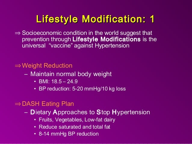 Lifestyle Modification for the Prevention and Treatment of Hypertension