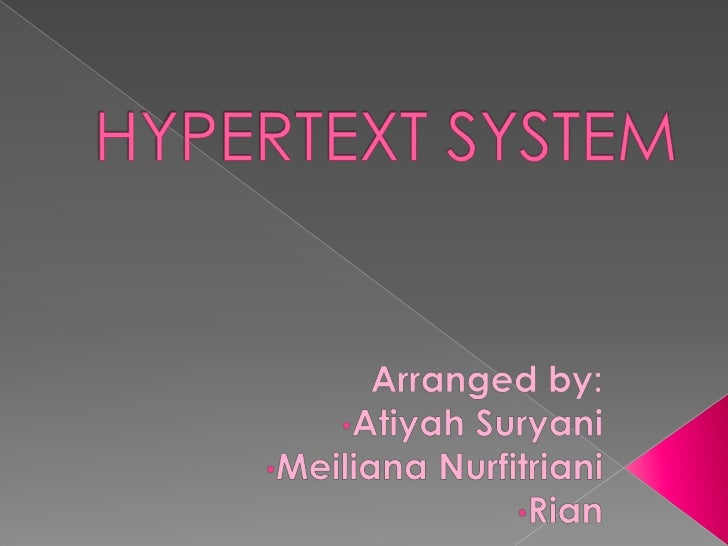 Concept  and Definition Hypertext and Hypermedia Advantages and Problem Hypertext Application Application of Hyperte...