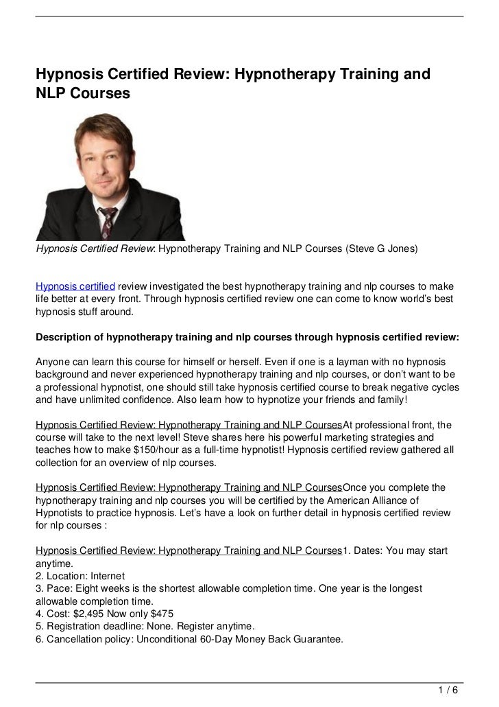 Hypnosis Certified Review: Hypnotherapy Training and NLP ...