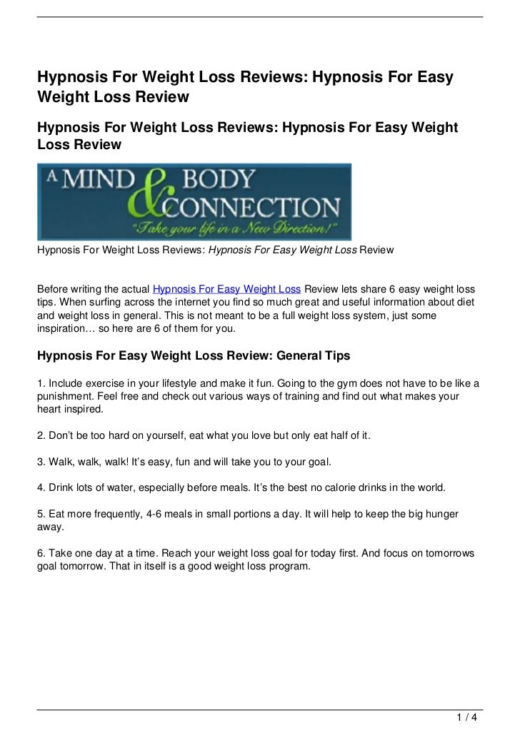Hypnosis For Weight Loss Reviews: Hypnosis For EasyWeight Loss ReviewHypnosis For Weight Loss Reviews: Hypnosis For Easy W...