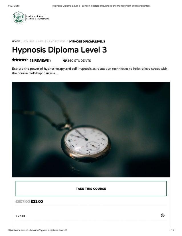 Hypnosis Diploma Level 3 - LIBM