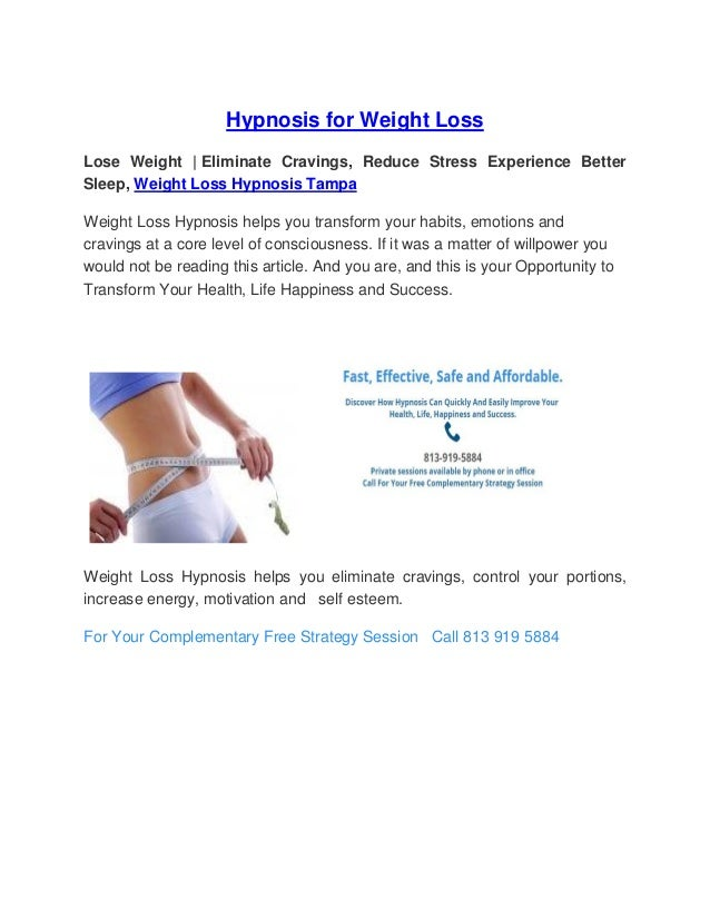 Hypnosis For Weight Loss Tampahypnosiscenter
