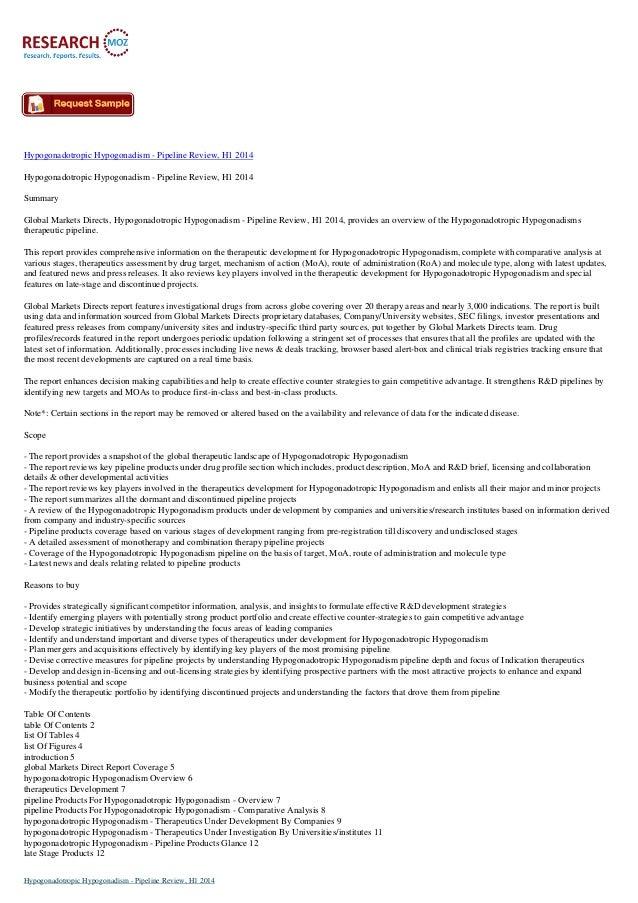 Hypogonadotropic Hypogonadism - Pipeline Review, H1 2014 Hypogonadotropic Hypogonadism - Pipeline Review, H1 2014 Summary ...