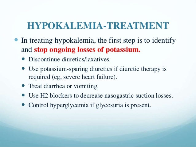 Hypokalemia diagnosis, causes and treatment