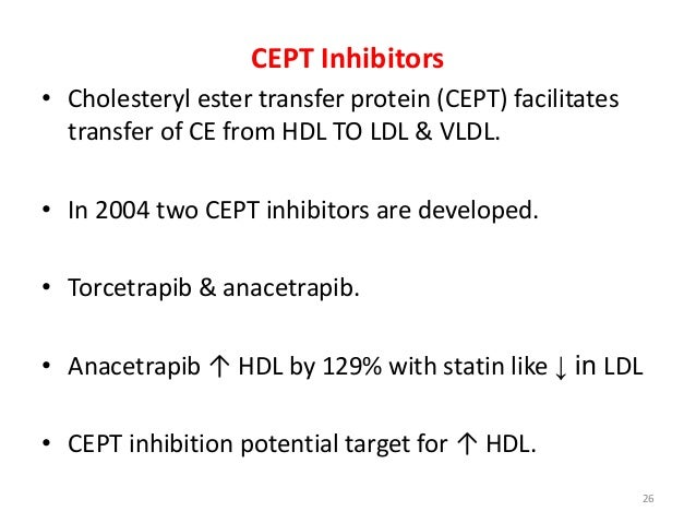 CEPT Inhibitors • Cholesteryl ester transfer protein (CEPT) facilitates transfer of CE from HDL TO LDL & VLDL. • In 2004 t...