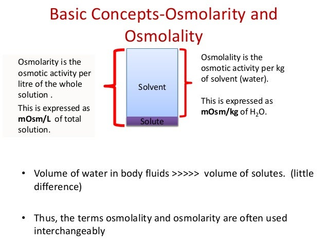 osmolarity concentration and sucrose solutions A model has been developed for calculation of osmosis mass transport data and water activity for osmotic concentration to equilibrium in sucrose solutions for the concentration range 10–70% and solutionlsolids range of 1–10 the mass transport data can be calculated with an average error 4% water activity can also be.