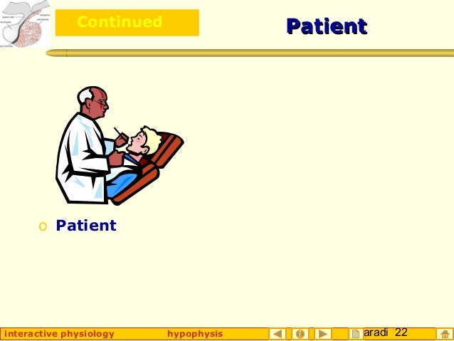 Taradi 22interactive physiology hypophysis PatientPatient o Patient o Continued