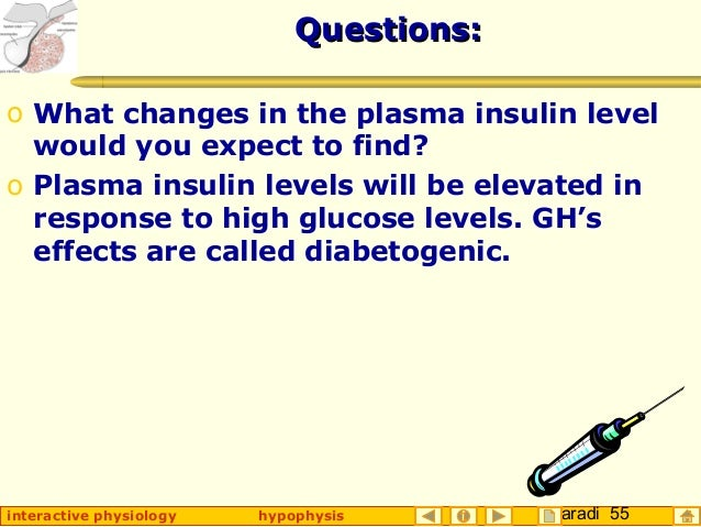 Taradi 55interactive physiology hypophysis Questions:Questions: o What changes in the plasma insulin level would you expec...