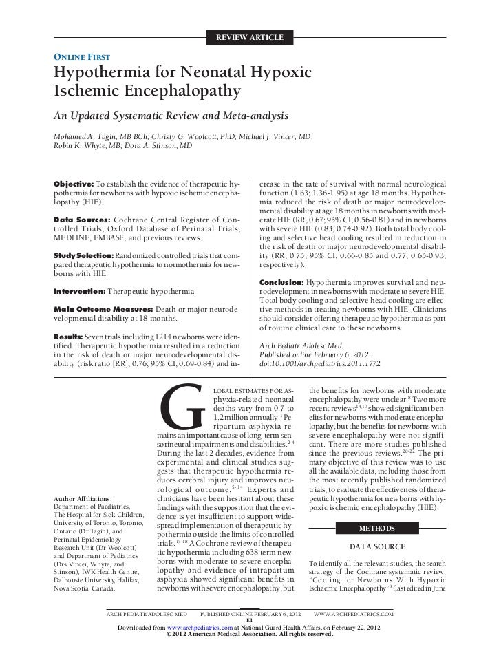 REVIEW ARTICLEONLINE FIRSTHypothermia for Neonatal HypoxicIschemic EncephalopathyAn Updated Systematic Review and Meta-ana...