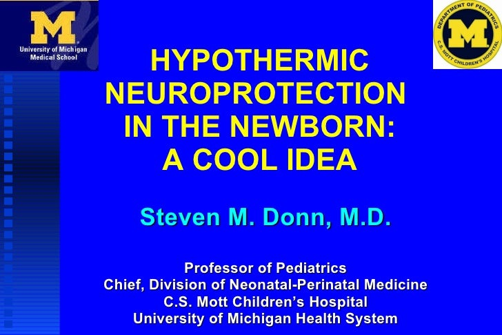 HYPOTHERMIC NEUROPROTECTION  IN THE NEWBORN: A COOL IDEA Steven M. Donn, M.D. Professor of Pediatrics Chief, Division of N...