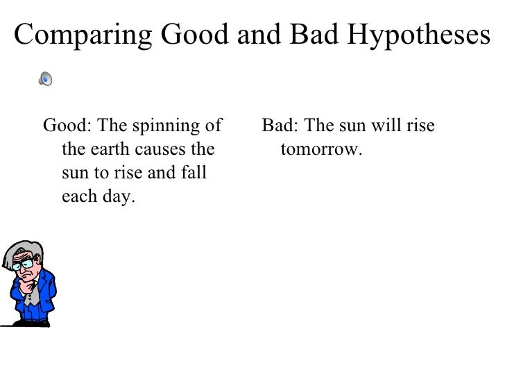 examples of good hypothesis The hypothesis enjoy this interactive powerpoint be sure to click or roll your mouse over the sound icons in the top left corner in the order that they are p.