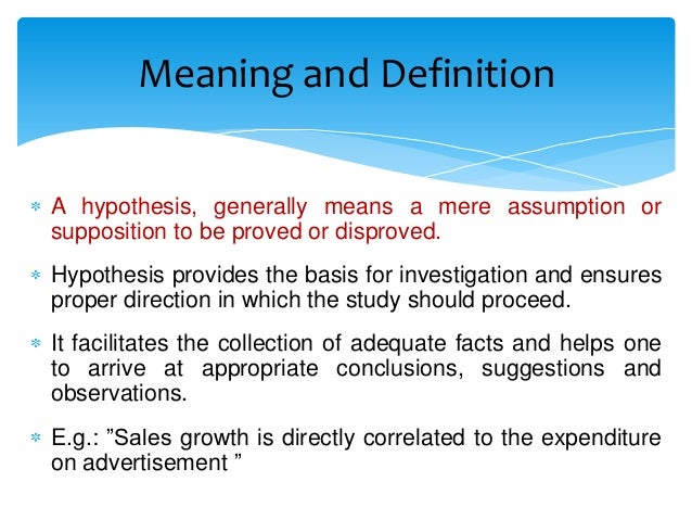 Meaning of hypothesis in english