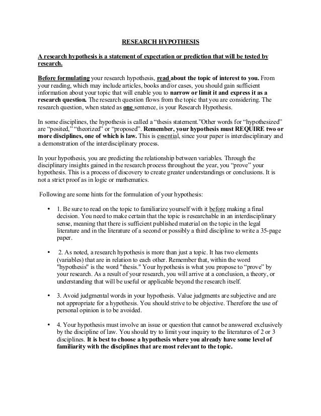 hypothesis in thesis