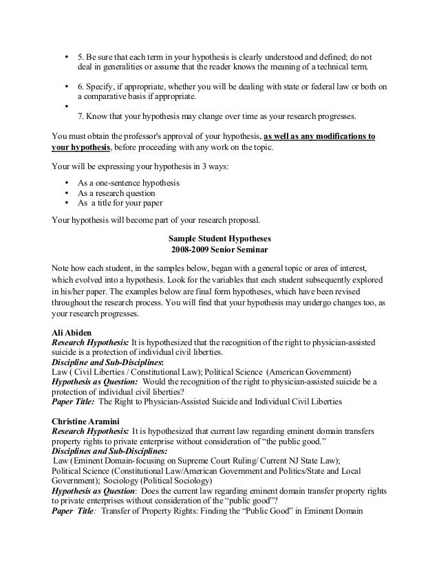 sample of a research paper hypothesis  short explanation