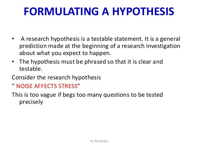 formulating a hypothesis