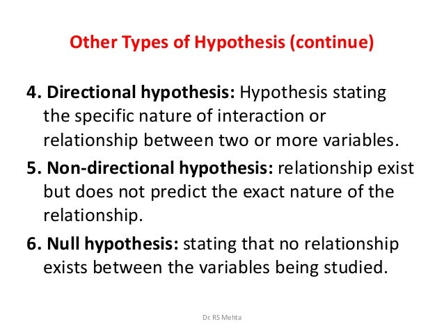 directional hypthesis