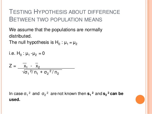 Null hypothesis population